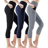 ATHLIO 3 Pack High Waist Capri Yoga Pants with Pockets, Tummy Control Yoga Leggings, 4 Way Stretch Non See-Through Workout Ru