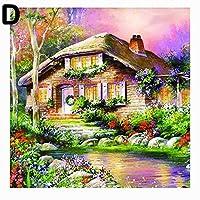ruixuered-可愛い人気上品スウィートキャビン小屋パターン樹脂ダイヤモンド絵画diyクラフトクリスマスギフト家の装飾 - D