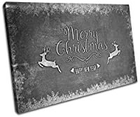 太字ブロックデザイン–クリスマスデコレーションXmasギフトチョーク1つ11クリスマスキャンバスアートプリントボックスフレーム入り写真壁吊り下げ–Hand Made In The UK–Framed and ready to hang (D) 90x60cm X1-8413(00A)-SG32-LO-D