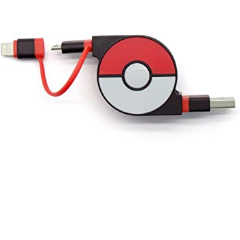 cheero 2in1 Retractable USB Cable with Lightning & micro USB Pokemon version (Red) MFi取得 巻き取り式 充電ケーブル 急速充電 データ転送 ライトニング マイクロUSB 70cm