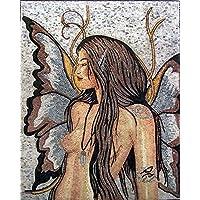 バタフライ・フェアリー 美しいアートの世界 高級大理石 ハンドメイドモザイクアート タイル壁画 壁装飾 デザインタイル