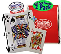 "Matty 's Toy停止ノベルティPlaying Cards Large ( 6.75 "" X 4.75 "" ) & Extra Large ( 11 "" x 8 "" )デラックスギフトセットBundle withボーナスストレージバッグ – 2パック"