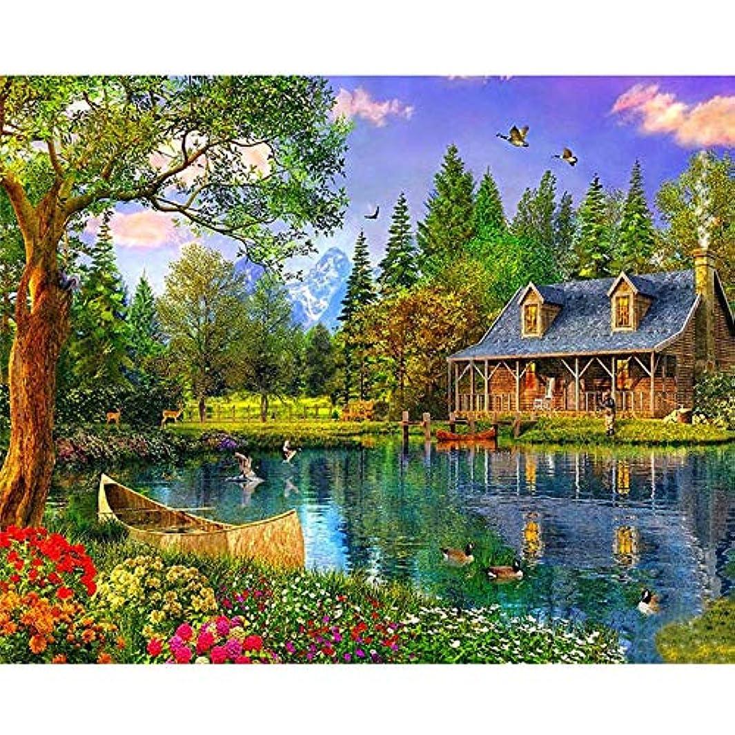 住所好み象ZDDYX デジタル番号付き顔料塗装 風景ツリー湖絵画装飾