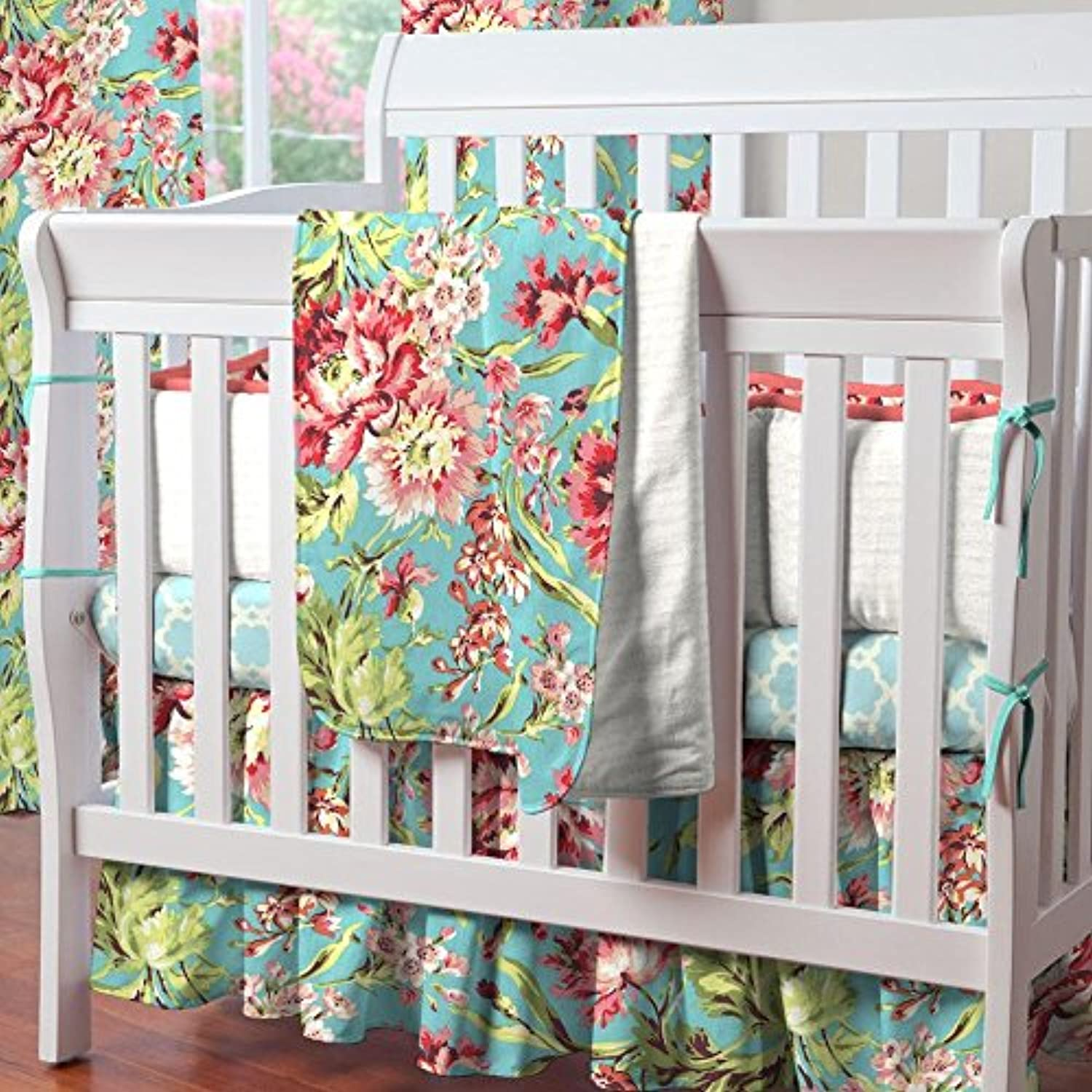 Carousel Designs Coral and Teal Floral Mini Crib Blanket by Carousel Designs