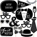 Mr. & Mr. - Silver - Gay Wedding LGBTQ Photo Booth Props Kit - 20 Count