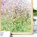 Homein 窓用フィルム ステンドグラス シート シール uvカツト ガラスフィルム 遮光 断熱 めかくしシート 日よけ 目隠し 飛散防止 跡なし剥がせる 網入りガラス適用(花明 90 x 200cm)