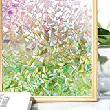 (45 200CM, 3d Rainbow) - Do4U 3D Non-Adhesive Window Film Decorative Privacy Static Clings Static Window Film for Glass Privacy Film Frosted Glass Self Adhesive Rainbow Colourful Pattern Glass Film Anti UV (45 200cm, Multi)