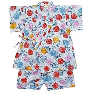 《盛夏 甚平》(ジンベイ) 日本製ベビー女児 リップル生地ゴム風船柄甚平スーツ 80cm/OW NO.OG-75573