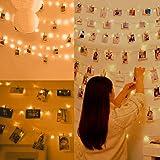 Anpro 110 LED Photo Clip String Lights, 11M Fairy Light Photo Clips, LED Photo Lights Pegs for Bedroom Decoration,Hanging Pho