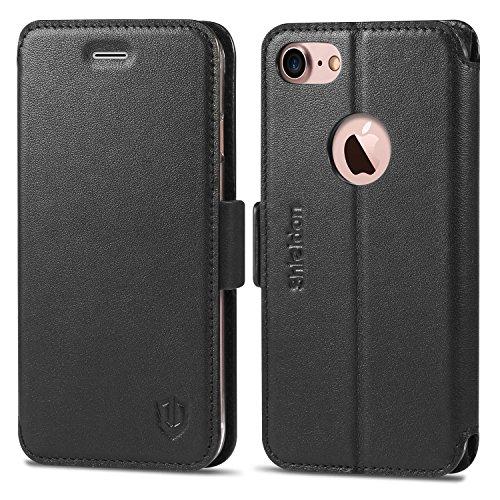 iPhone 7 ケース 手帳型 SHIELDON アイフォン7ケース 手帳型 本革 カードポケット スタンド機能 デュアルマグネット留め具 ブラック