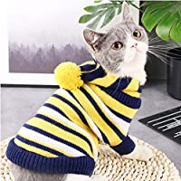 Elvoo 猫の服、ペット猫の服、ショートブルーの猫服、セーター、大人の猫、秋と冬のニットジャケット、暖かい犬服アパレルクローバー服衣料品服装Togペット (Color : Yellow, Size : XS)