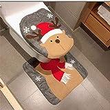 HESHIFENG. party & accessories Christmas Snowman Santa Deer Toilet Seat Cover and Rug Set Christmas Bathroom Decorations Deer