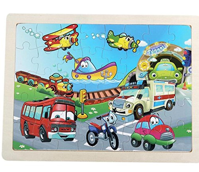HuaQingPiJu-JP 教育木製漫画のパズルアーリーラーニングの数字の形の色の動物のおもちゃ子供のための素晴らしいギフト(交通)