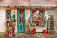 csfotoサンタのワークショップの背景写真バックドロップクリスマスリース素朴な木製ドア新しい年クリスマスツリー装飾サンタ家Holiday Celebrationフォトスタジオ小道具ポリエステル壁紙