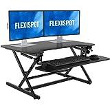 FLEXISPOT Height Adjustable Standing Desk Converter   35 inch Stand Up Desk Riser, Black Home Office Desk Workstation for Dua
