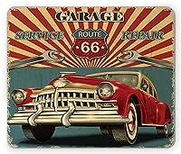 Americanaマウスパッド、ビンテージガレージRepair Shop Advertising Automobile素朴なVehicle Nostalgicレトロアート、標準サイズ長方形ノンスリップゴムマウスパッド、ティール