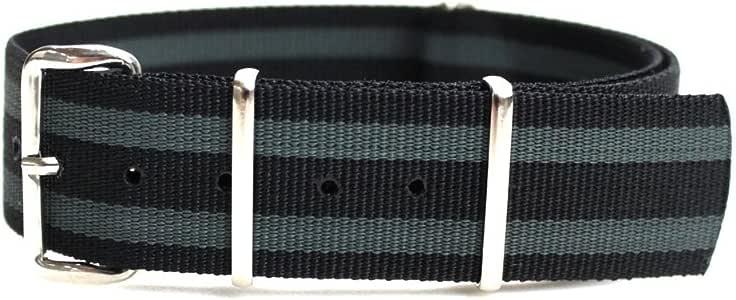 Phoenix社製 NATO軍G10正規 ストラップ 20mm JB(黒&グレー) ナイロン 時計ベルト バンド [クロノワールド chronoworld] [簡単キット付]