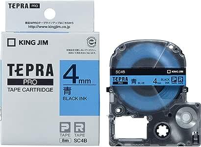 キングジム テープカートリッジ テプラPRO SC4B カラーラベル 青/黒文字 4mm