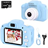 hyleton Digital Camera for Kids, 1080P 5MP HD Kids Digital Video Camera with 2 inch IPS Screen and 16GB SD Card light blue