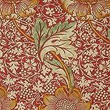 ウィリアムモリス おしゃれな プリント生地 kiji-kn22(IO) 品番:220325 【 約137cm幅×100cm 】 輸入 ファブリック 海外 import クラフト 布 生地 北欧調 レトロ アンテーク調 William Morris 植物柄 花柄 麻 リネン red 赤