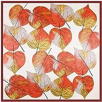 秋のステインスカーフ女性ファッション薄い葉プリントスクエアヘッドシルクスカーフ高級ショール90 * 90センチメートル