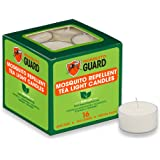 Mosquito Guard Repellent Tea Light Candles (16 Pack) Made with Natural Plant Based Ingredients - Citronella, Lemongrass, Rose