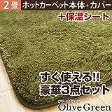 ホットカーペット+カバーセット 2畳用(186x186) オリーブグリーン