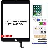 "SRJTEK For iPad Air 2 2nd Gen 9.7"" 2014 A1566 A1567タッチスクリーン デジタイザー 前面ガラスパネル 交換キット(LCDなく、説明書なし)+修理部品 +強化ガラス(ブラック)"