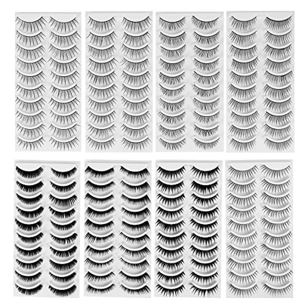 大邸宅宣言するグラフィックFrcolor つけまつげ ナチュラル 手作り まつげ毛セット まつげエクステ メイクアップ パーティー用 8スタイル 80ペア