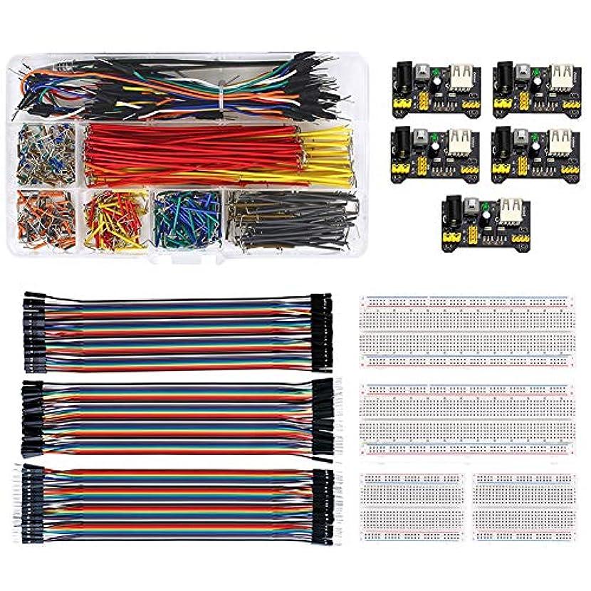 心理学見ました踊り子WayinTop ブレッドボード用セット ジャンパーワイヤーキット 18サイズ + 40ピン デュポン線 3種類 + ブレッドボード 2サイズ + 3.3V 5V MB102 ブレッドボード用電源モジュール Arduinoに適合