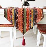 選べる ボヘミアン アジアン こだわり テーブル ランナー おしゃれ リビング モダン 北欧 セレクト インテリア 雑貨 刺繍 幾何学 模様 デュベ ライナー カフェ タイプ D (220×32cm, 赤色 レッド)