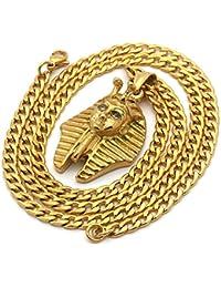 メンズゴールドメッキステンレススチールMedium Pharaoh Pendant with 4 mm 24