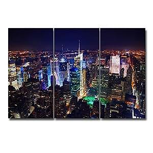 Royllent アートパネル 「ニューヨーク・シティービュー」夜景 3パネルセット 壁掛け 壁飾り DIYの楽しみ!リビング・オフィス・飲食店・物販店・モデルルームなどの施設に最適(木枠付きの完成品) (D)