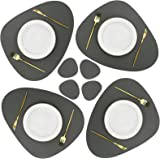 Olrla PU Leather Placemats and Coasters Set,4 Placemats 17.7''x15'' and 4 Coasters 5.1''x 4'', Waterproof Wipeable Heat-Resis