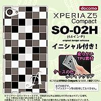 SO02H スマホケース Xperia Z5 Compact カバー エクスペリア Z5 コンパクト ソフトケース イニシャル スクエア グレー nk-so02h-tp1016ini N