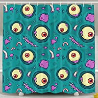 Kangenze シャワーカーテン 150cm×180cm Shower Curtain,Zombie Eyeball Seamless Polyester Waterproof Bath Curtain,Fabric Mildew Resistant Bathroom Decoration with Hooks