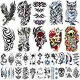 42 Sheets Temporary Tattoos Stickers (Include 10 Sheets Large Stickers), Body Arm Chest Shoulder Tattoos for Men and Women