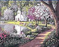 LoveTheFamily 数字油絵 数字キット塗り絵 手塗り DIY絵 デジタル油絵 40 x 50 cm ホーム オフィス装飾 -朴