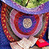 (220cm x 230cm) - Marubhumi Hippy Mandala Bohemian Tapestries, Indian Dorm Decor, Psychedelic Tapestry Wall Hanging Ethnic De
