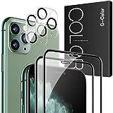 G-Color iPhone 11 Pro 用 ガラスフィルム 【4枚】強化ガラスフィルム 2枚 + レンズ保護フィルム 2枚 全面保護 日本旭硝子素材 3Dラウンドエッジ加工 iPhone 11 Pro 用 カメラフィルム レンズ保護 露出オーバー