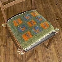 【1点もの?ギャッベ】夏涼しくて冬暖かい、カシュガイ族の織るウール100%手織りギャッベ ? 座布団サイズ / 36x41cm