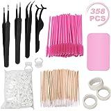 Eyelash Extension Kit, including Stainless Steel Precision Tweezers Set, Disposable Eyelash Mascara Brush Wand, Cotton Swabs
