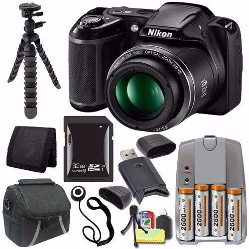 Nikon COOLPIX L340 Digital Camera (Black) - International Version (No Warranty) + 4 AA Pack NiMH Rechargeable Batteries and Charger + 32GB SDHC Card + Case Saver Bundle by 6Ave [並行輸入品] -