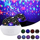 Star Night Light, Cre-Heaven Baby Night Light Star Moon Rotating Projector Bedside Lamp Color Changing Timer Setting for Baby