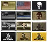 Yunxin (12 枚セット)タクティカル ワッペン アメリカ 国旗 刺繍 腕章 ミリタリー パッチ 星条旗 サバゲー/バック/キャップ用 パッチ