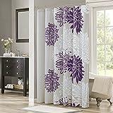 "Comfort Spaces Bath Curtains, CS70-0105, Fabric, Purple/Grey, 72""x72"""