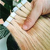 FidgetGear 皮のよこ糸のブロンドのRemyの人間の毛髪延長16-26Inch完全な頭部の継ぎ目が無いテープ #27濃い金髪
