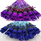 KaguraSuzu ソープフラワー バラ の 花束 プチギフト 粗品 お礼 お返し 石鹸 で出来た 薔薇 2ダース 24本 セット (青系2色)
