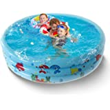 Dittelle Round Inflatable Swimming Pool, Portable Inflatable Child Pool, Paddling Pool Indoor&Outdoor Toddler Water Game Play