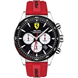Ferrari Men's Pilota Stainless Steel Quartz Watch with Silicone Strap, Red, 22 (Model: 0830596)